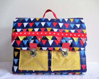 Satchel boy CP blue laminated cotton fabric and colorful flags