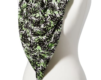 Handmade Black and Lime Leaf Print Scarf