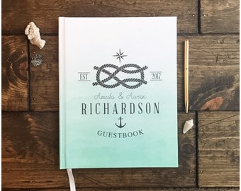 Wedding Guest Book. Beach Nautical Theme Wedding Guest Book. Custom Beach Wedding Book. Wedding Keepsake. Custom Wedding Gift. Beach Wedding
