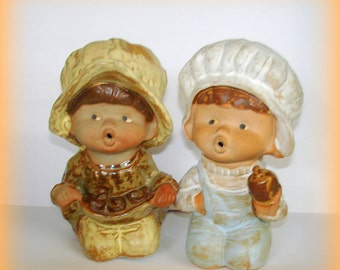 Seymour Mann Figurines Vintage Ceramic Painted Well Little Country Boy and Girl Open Mouthes Expressive Faces