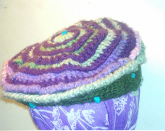 Purple and green beret style beanie