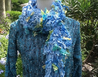 Hand Knit Drop Stitch Blue Scarf / Yellow & Turquoise Green Bows with Sequence