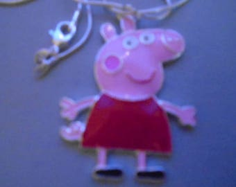Peppa Pig Pendant on 18 inch necklace