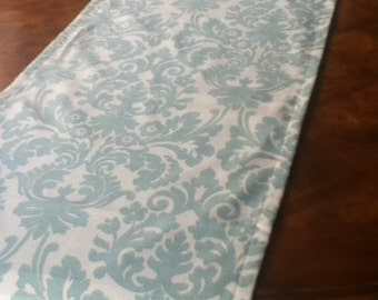"""19"""" x up to 82"""" Aqua Damask Runner - ready to ship"""