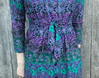 80's floral E.D. Michael's dress/vintage dress/floral dress/E.D. Michael's/80's dress/vintage 80's dress/retro dress/purple floral dress