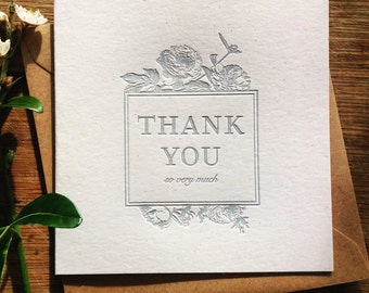 Vintage Letterpress Thank You Card, Vintage Floral