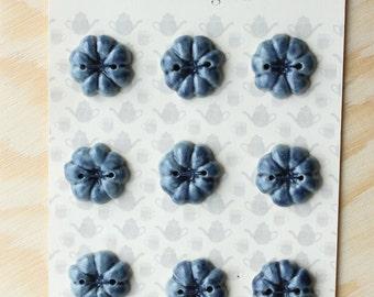 Blue Ceramic Pumpkin Buttons