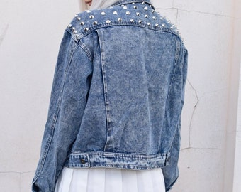 Acid wash oversized silver studded denim jacket