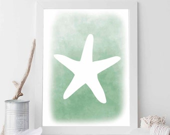 Starfish, Starfish Print, Green Starfish, Starfish Art, Starfish Wall Art, Wall Art, Wall Print, Printable Art, Beach Art, Coastal Print Art
