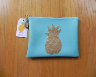 Aqua with metallic gold  pineapple bag