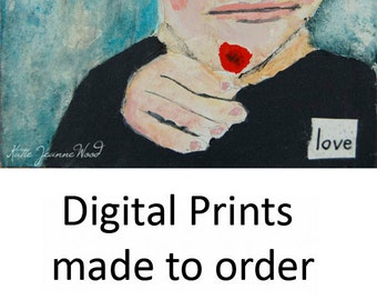 Boy & Red Flower Portrait Painting Print. Boy Love Digital Print. Gift for Women. Apartment Wall Decor Mother's Day Gift.