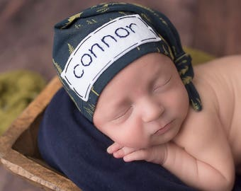 Newborn boy coming home outfit - baby knot hat name - hospital hat - monogramed hat - personalized newborn hat - newborn photo prop