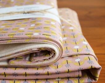 SALE, Organic Cotton Baby Blanket Set, Blush Grey Yellow Tulip Baby Blanket Burp Cloths, Baby Girl Shower Gift, Handmade in Canada; Florette