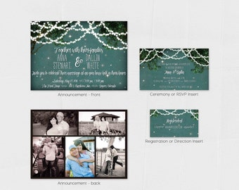 LIGHTS and LANTERNS WEDDING Invitation Suite Outdoor Night Wedding Invitations Announcements