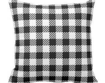 Throw Pillow Buffalo Plaid Print Thin White/Black