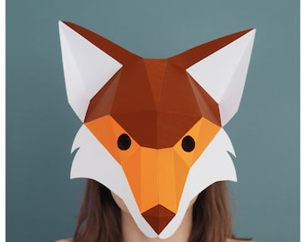 Fox mask Digital Download Masquerade mask, Papercraft 3d Low poly, Fantastic mr Fox, Woodland party costume, Woodland animals printable fox