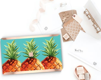 Macbook Pro 13 Case Macbook Air Case Laptop Case Macbook Case . PineApple Teal Aqua and Rose Gold Chrome Edge