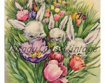 Easter 3 a Field of Bunnies a Digital Image from Vintage Greeting Cards - Instant Download