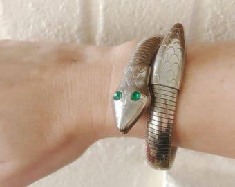 Vintage Green-Eyed Silver Snake 60's-70's Flexible Bracelet-Egyptian Revival