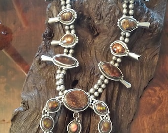 Sterling silver vintage native American brown fire agate (Chalcedony) squash blossom
