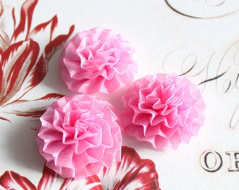 Lot of 6, Light Pink Organza Chrysanthemum Flower Appliques in 1.5""