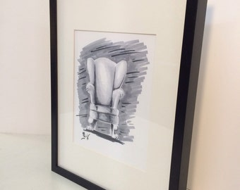 Ink Drawing Wingback Chair