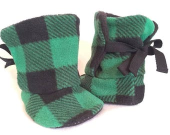 Fleece Baby Booties Various Colours, Buffalo Plaid, Check.  Made to Order Sizes 6-12 mo and 12-18 mo.