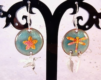 nature earrings made in enameled copper and sterling silver