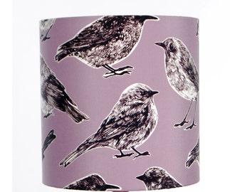 Flight Lampshade - Raspberry - handmade silk shade with birds