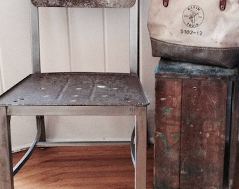 Vintage Metal Chair Machinist Industrial Factory