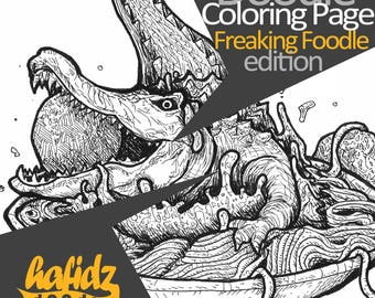 Crocodile + Spaghetti ; Doodle Coloring Page