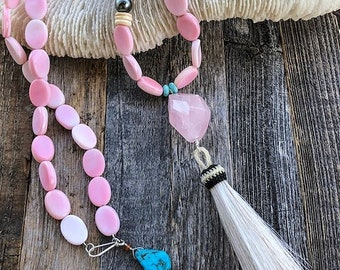 Pink Conch Shell Necklace | Tahitian Pearl | Rose Quartz | Peruvian Opal | Turquoise | Tassel | Long Necklace