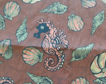 VINTAGE 1960's Brown Cotton Seashell Fabric - available