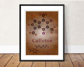 Coffee print Caffeine print, science inspired wall art, Caffeine molecule, scientist poster, girls gift, educational art, Chemistry