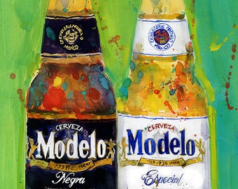 Negra Modelo and Modelo Beers (Mexican Beer ) Print from Original Watercolor Great for Man Cave