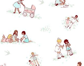 Dolls Best of Sarah Jane for Michael Miller Fabrics Children at Play Reprint in Spring