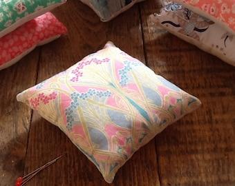 Pin cushion handmade with Liberty fabrics, Ianthe