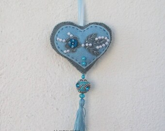 heart embroidered with felt beads