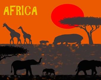 African savanna animals-Elephant poster-Giraffe art print-Hippo print-Safari art print-Wild animal Decorative Art Print-Large Original Print