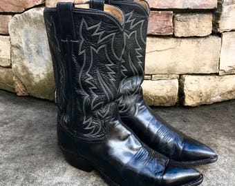 Vintage 1950s Justin Western Boots Vtg Black Leather Cowboy Boots Men's 9 1/2 Extra Wide