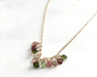 ultra dainty necklace Tourmaline necklace, multicolor gemstone necklace, natural healing 14kgf handmade gemstone jewelry gold chain necklace