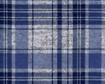 Luxe Flannel Fabric - Plaid Navy Gray Heather - 22 inches