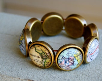 Custom 8-City Map Stretch Bracelet - You Pick Locations - Personalized Gift Map Jewelry