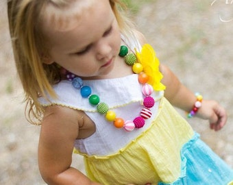 Rainbow Chunky Bubblegum Bead Necklace Bracelet Set Toddler Necklace Rainbow Necklace Toddler Little Girl Jewelry Rainbow Birthday Jewelry