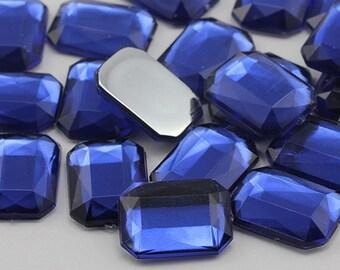 Royal Blue JG33 Flat Back Octagon Loose Acrylic Jewels High Quality Pro Grade - 2 Sizes