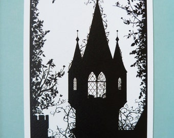 "A5 Sleeping Beauty Silhouette Print 5.8"" x 8.3"" Charles Perrault, Brothers Grimm, Fairytale Art Print, available as part of my A5 Multibuy"