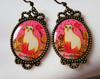 White cat earrings cats gold rose pink cat princess earrings cat jewelry pet cat lovers cute cat white cat gift cats earrings cat dangles