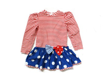 vintage girls dress 80s red white blue striped 1980s bow polka dot clothing size 6