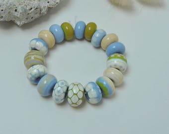 Periwinkle stones - Artisan lampwork beads by Loupiac