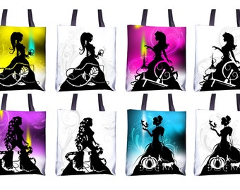 "Totes - Black and White or Color 15""x15"" - Featuring Princesses from my Fairy Tale & Fable hand cut paper art"